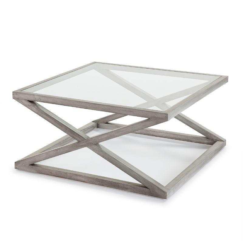 Table basse 90x90x45 Verre Bois Gris blanchi
