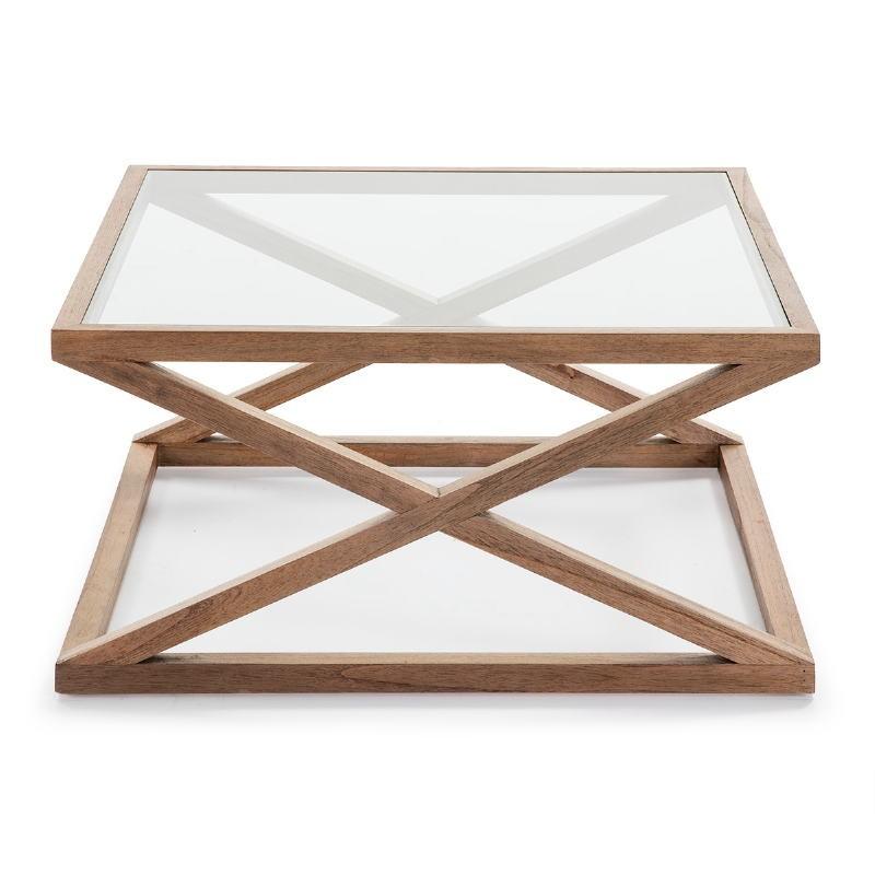 Coffee Table 90X90X45 Glass Wood Natural Veiled - image 51633