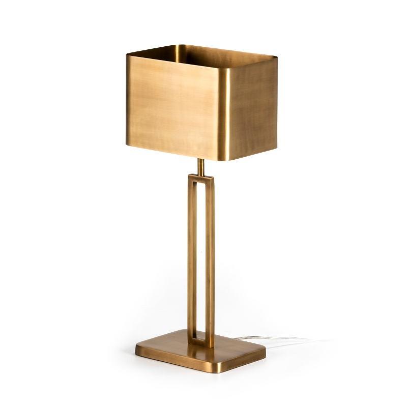 Lámpara De Sobremesa Con Pantalla 24X15X55 Metal Dorado