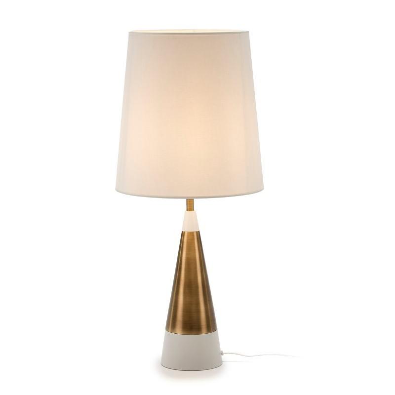 Lampe de Table sans abat-jour 13x13x45 Métal Doré Blanc - image 51646