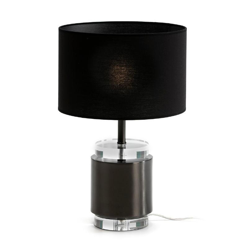Lampada Da Tavolo Senza Paralume 14X14X33 Acrilico Metallo Nero