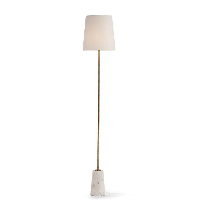 Standard Lamp Without Lampshade 14X14X140 Marble White Metal Golden - image 51684