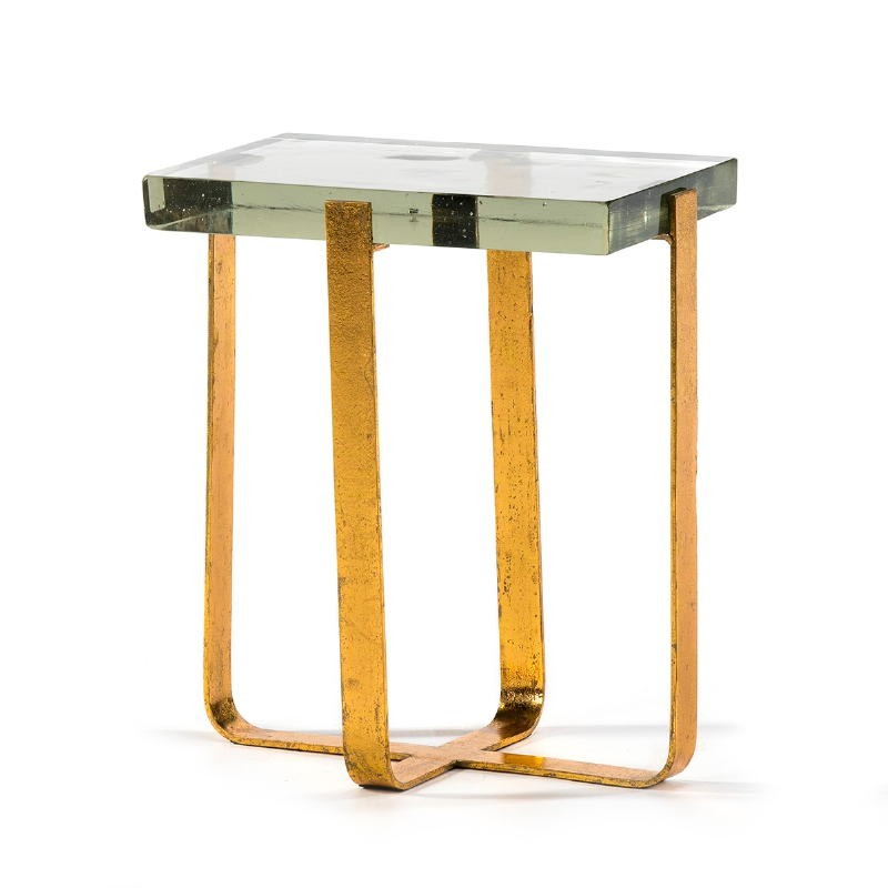 Side Table 41X26X46 Glass Metal Golden