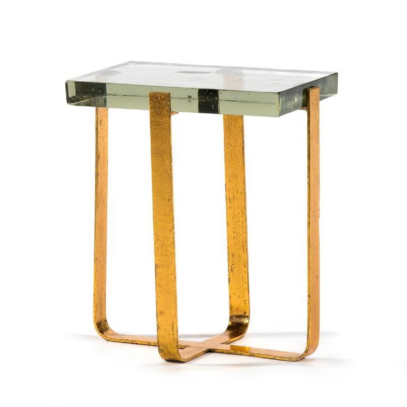 Table d'appoint, bout de canapé, bout de canapé 41x26x46 Verre Métal Doré - image 51697