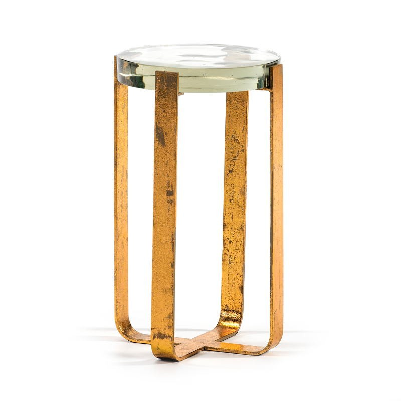 Side Table 26X26X46 Glass Metal Golden - image 51700