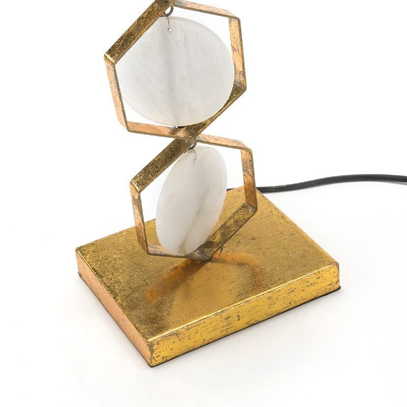 Tischlampe16X12X36 Metall Golden/Stein Weiß - image 51706