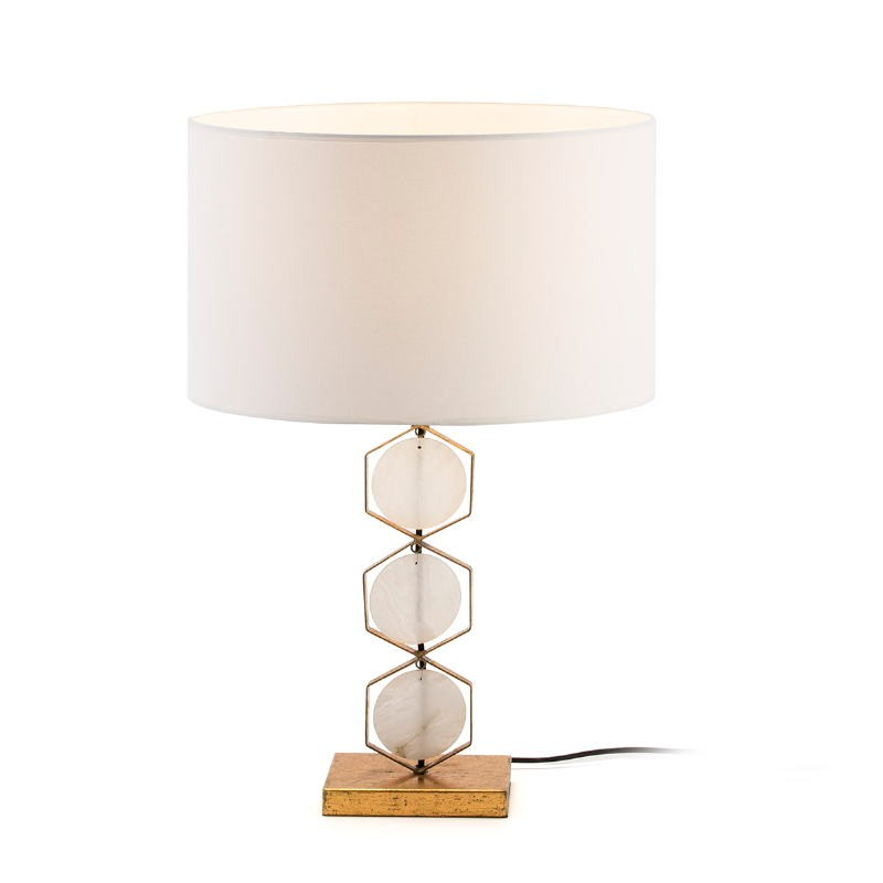 Table lamp Without Lampshade 16X12X36 Metal Golden Stone White - image 51707