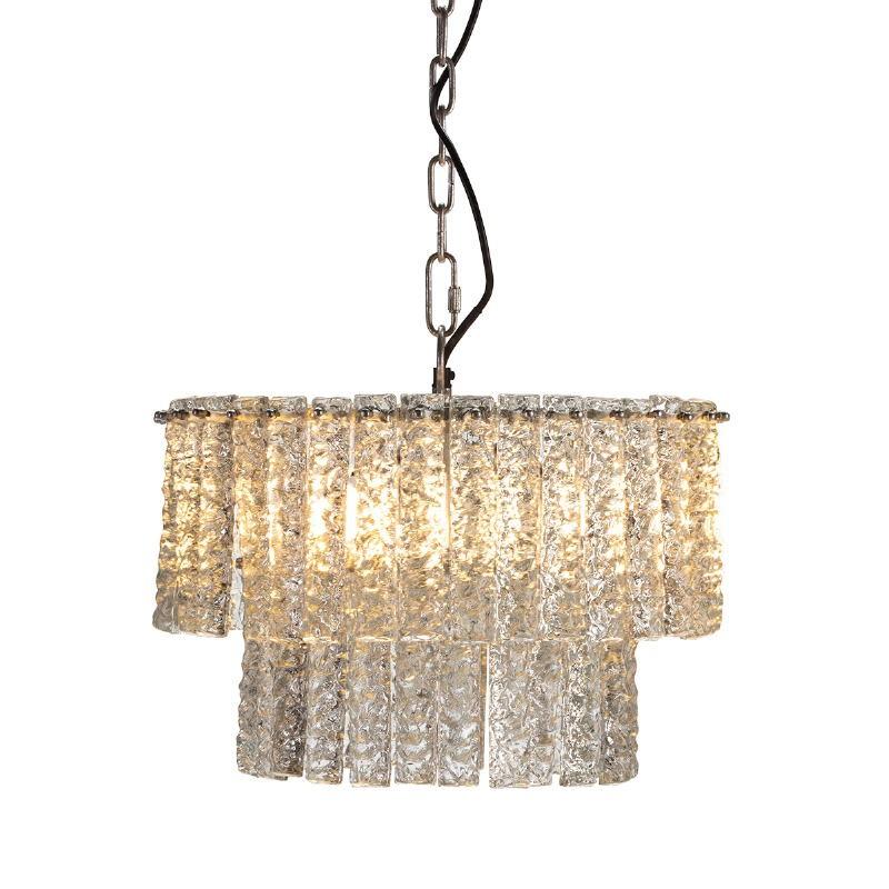 Lampada A Sospensione 39X39X29 Vetro Metallo Argento - image 51717
