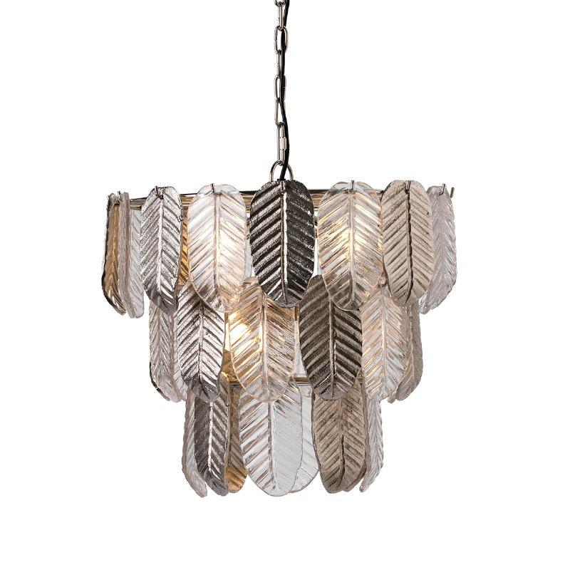 Lampada A Sospensione 46X46X43 Vetro Metallo Argento - image 51724