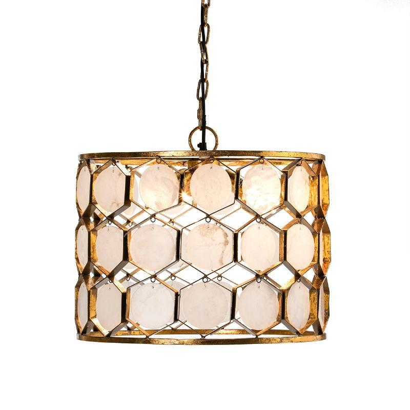 Lámpara Colgante 46X46X40 Metal Dorado Mármol Blanco