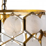 Hängelampe 46X46X40 Metall Golden/Marmor Weiß