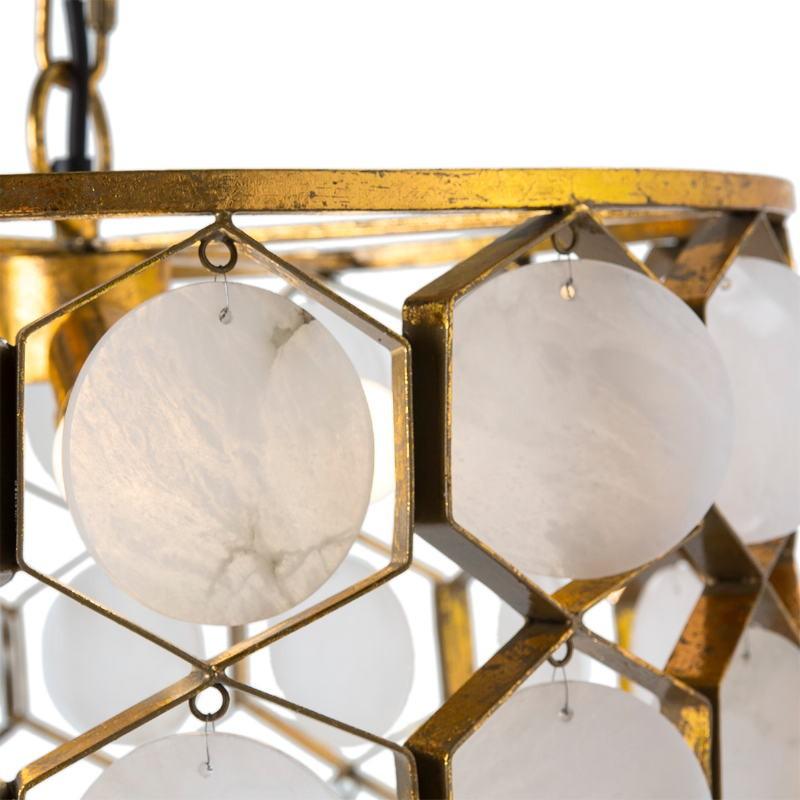 Lampada A Sospensione 46X46X40 Metallo Dorato Marmo Bianco - image 51726