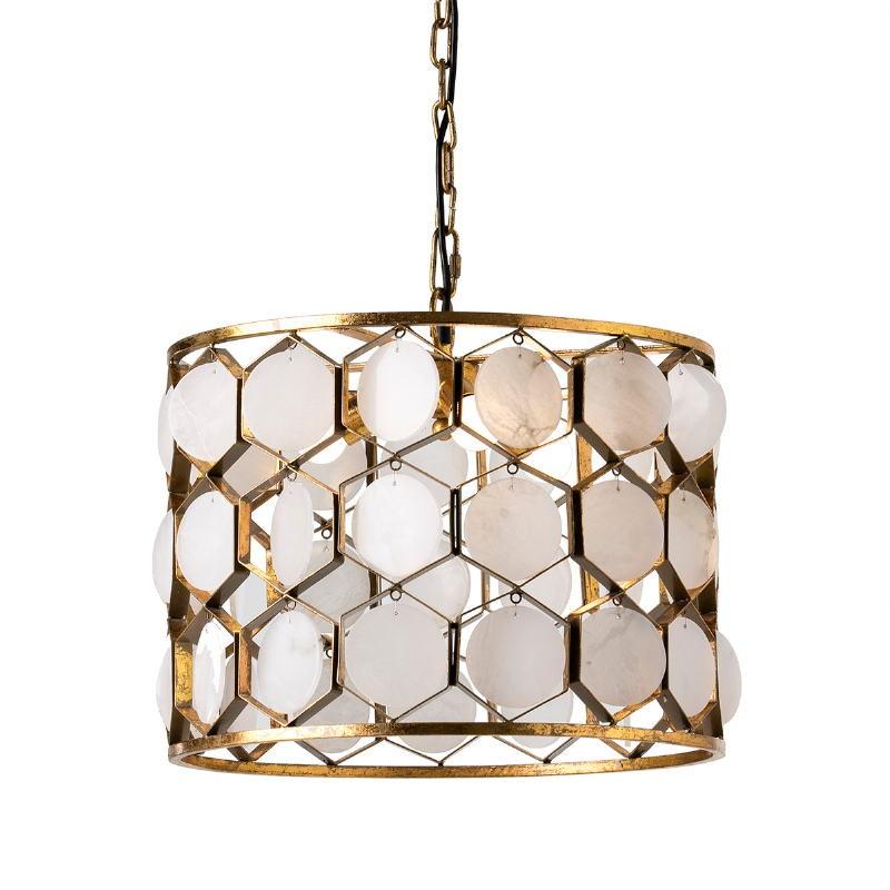 Lampada A Sospensione 46X46X40 Metallo Dorato Marmo Bianco - image 51727