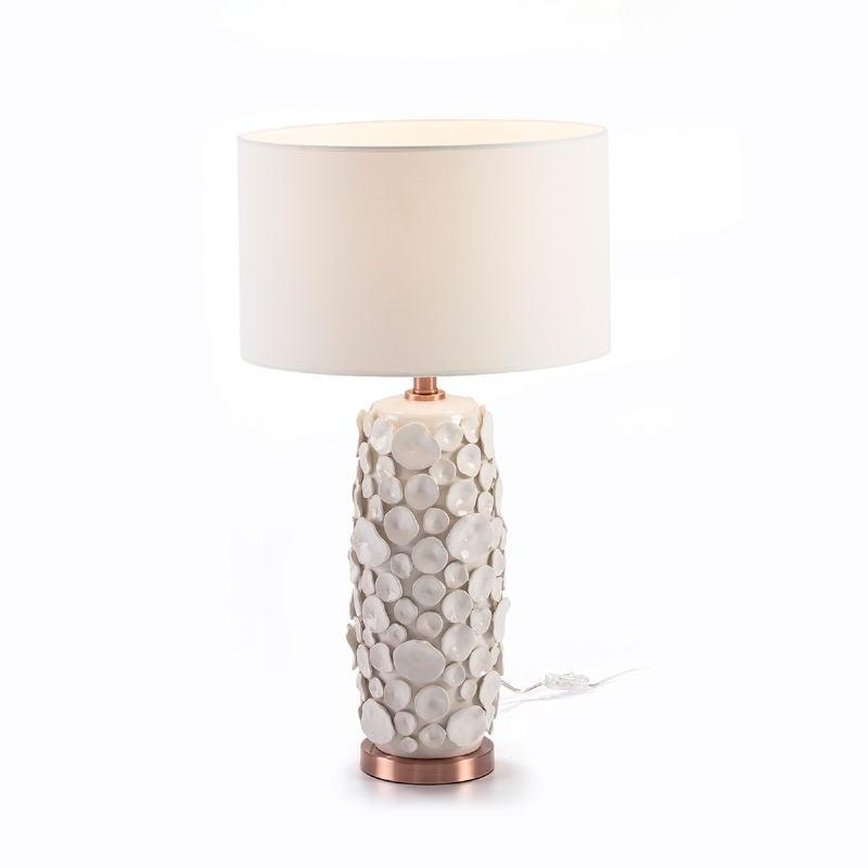 Lampe de Table sans abat-jour 17x15x52 Céramique Blanc Métal Couleur Cuivre