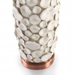 Lampada Da Tavolo Senza Paralume 17X15X52 Ceramica Bianco Metallo Colore Rame