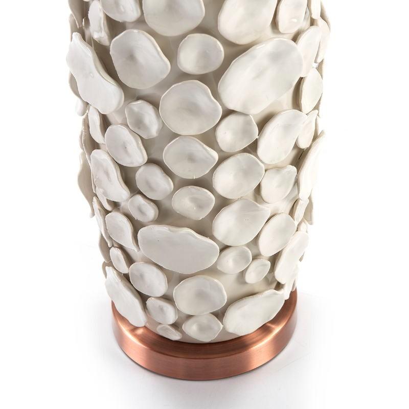 Lampe Auf Tisch Ohne Bildschirm 17X15X52 Keramik Weiß/Metall Kupferfarbe - image 51743