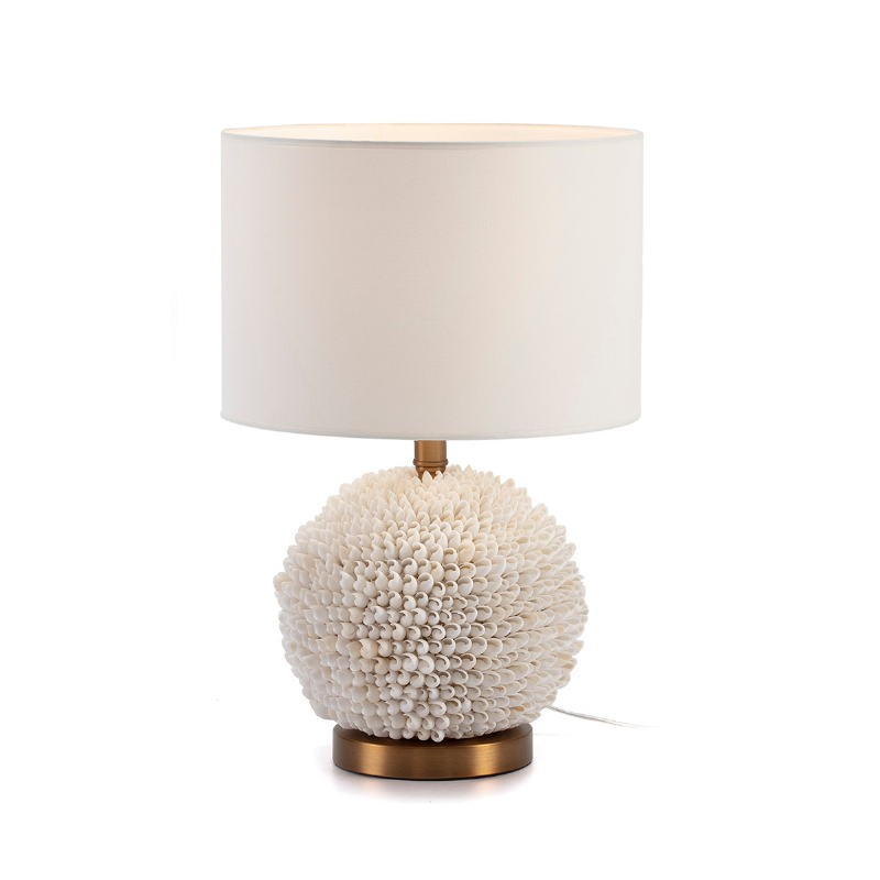Table Lamp Without Lampshade 25X16X33 Shells White Metal Golden