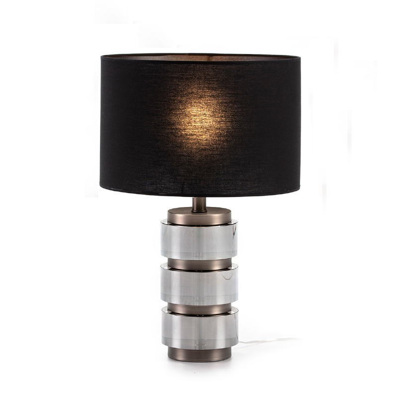 Lampe Auf Tisch Ohne Bildschirm 14X12X36 Methacrylat Geraucht/Metall Grau