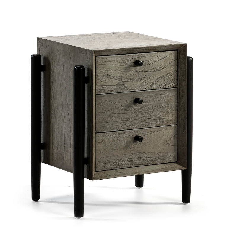Bedside Table 3 Drawers 50X40X61 Wood Grey Black - image 51768