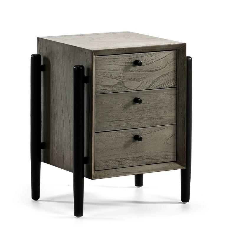 Table de chevet 3 tiroirs 50x40x61 Bois Gris Noir - image 51768