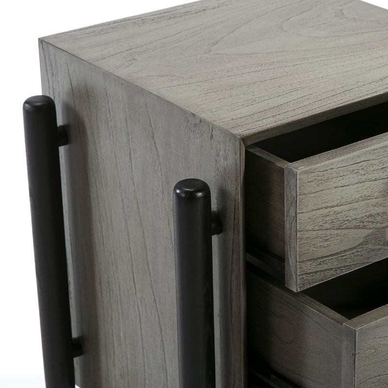 Bedside Table 3 Drawers 50X40X61 Wood Grey Black - image 51769
