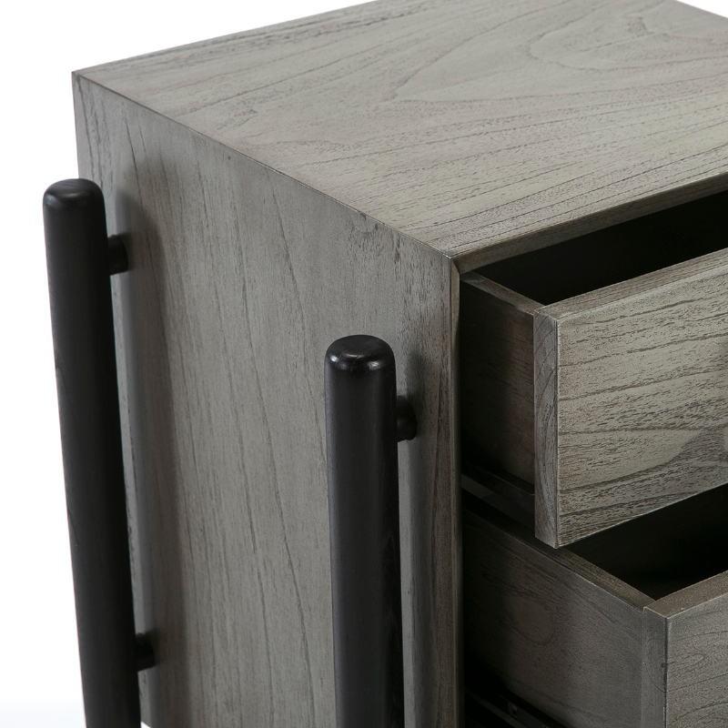 Table de chevet 3 tiroirs 50x40x61 Bois Gris Noir - image 51769