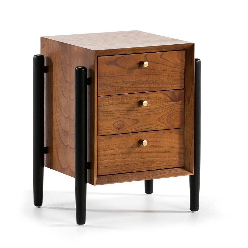Bedside Table 3 Drawers 50X40X61 Wood Brown Black