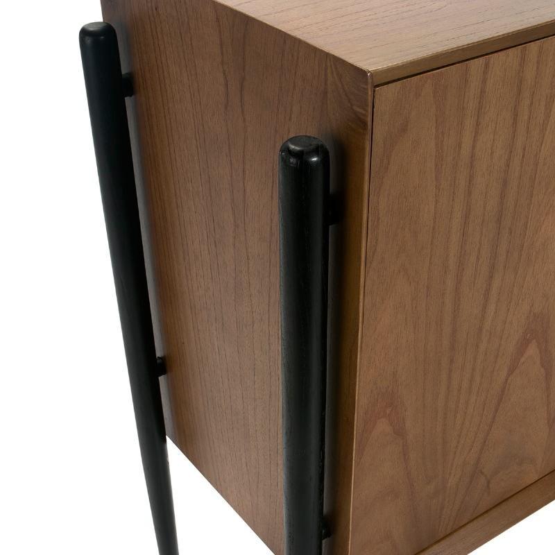 Sideboard 4 Doors 180X45X90 Wood Brown Black - image 51777