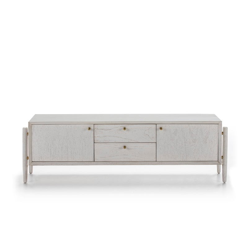 Tv Furniture 2 Doors 2 Drawers 160X40X50 Wood White - image 51790