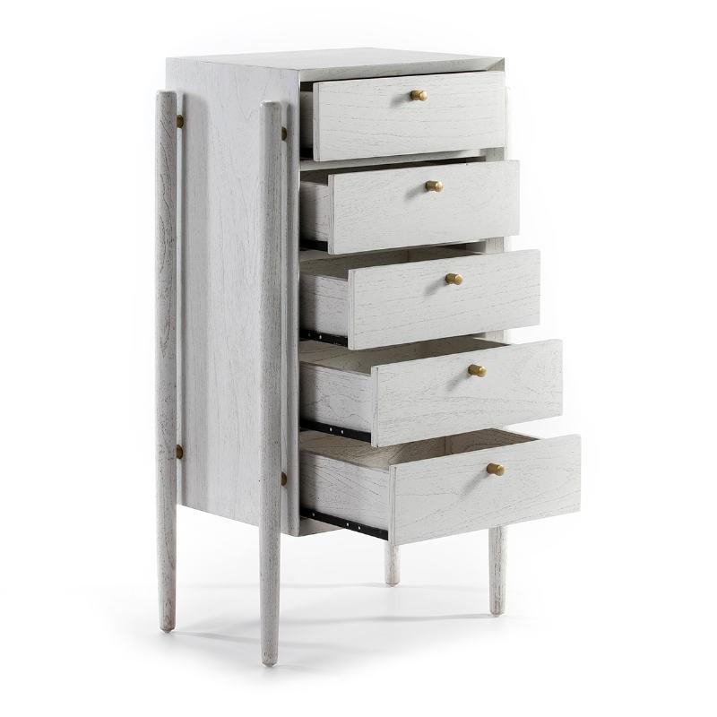 Chiffonnier 5 tiroirs 60x40x110 Bois Blanc - image 51797