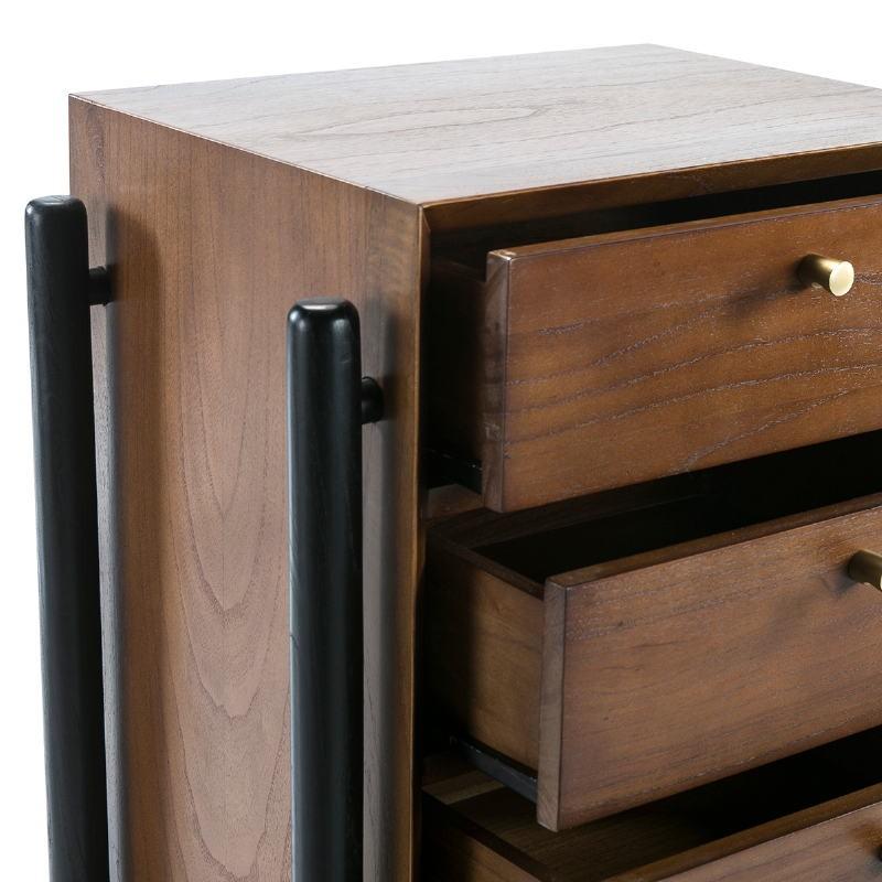 Chiffonnier 5 tiroirs 60x40x110 Bois Brun Noir - image 51800