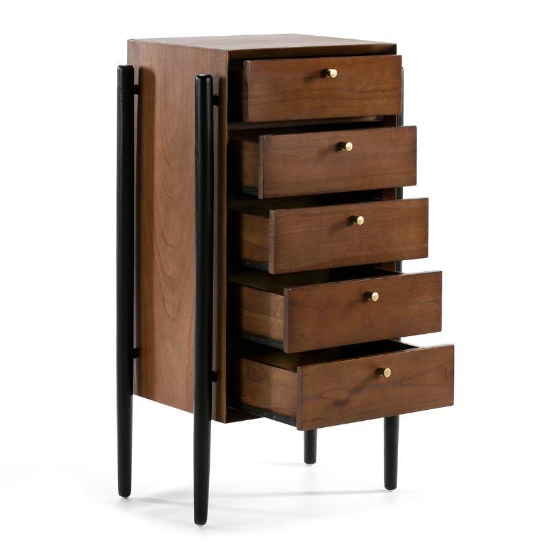 Chiffonnier 5 tiroirs 60x40x110 Bois Brun Noir - image 51801