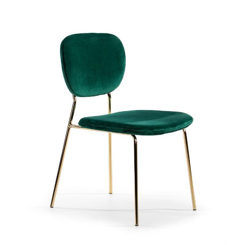 Chaise 45x55x82 Métal Doré tissu velours Vert - image 51803