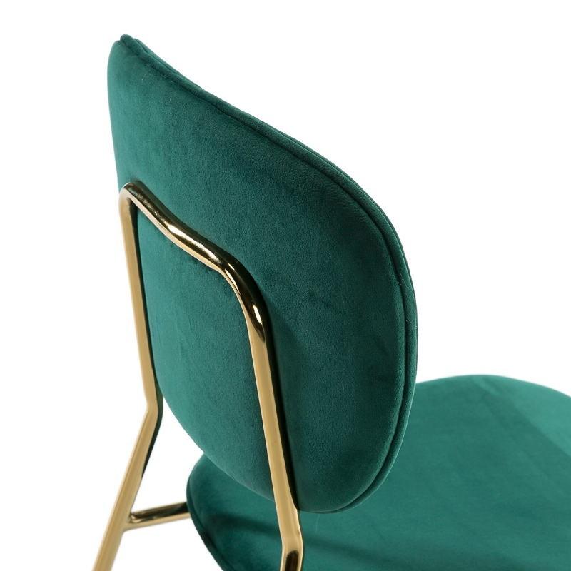 Chaise 45x55x82 Métal Doré tissu velours Vert - image 51804