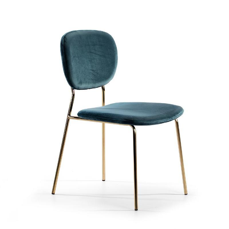 Chair 45X55X82 Metal Golden Fabric Blue