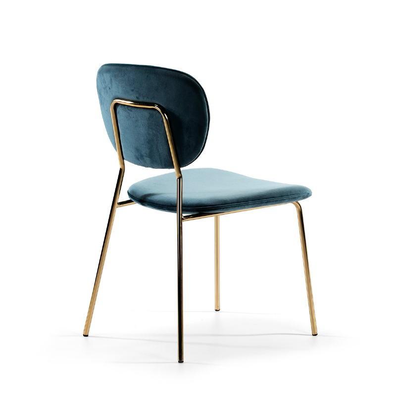 Chaise 45x55x82 Métal Doré tissu velours Bleu - image 51809