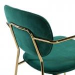 Sedia Braccioli 55X55X82 Metallo Dorato Tessuto Verde