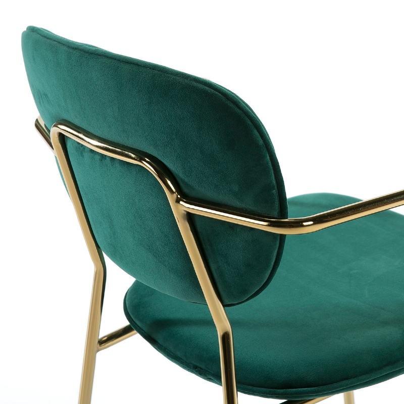 Chaise accoudoirs 55x55x82 Métal Doré tissu velours Vert - image 51812