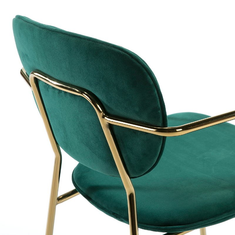 Sedia Braccioli 55X55X82 Metallo Dorato Tessuto Verde - image 51812