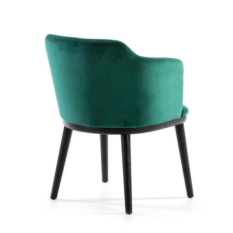 Chaise 61x48x78 Bois Noir tissu velours Vert - image 51826