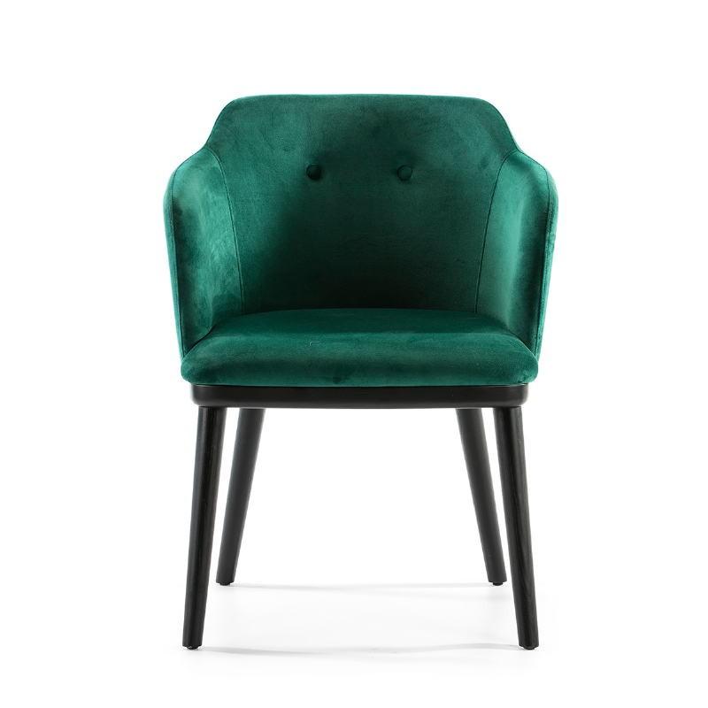 Chaise 61x48x78 Bois Noir tissu velours Vert - image 51827