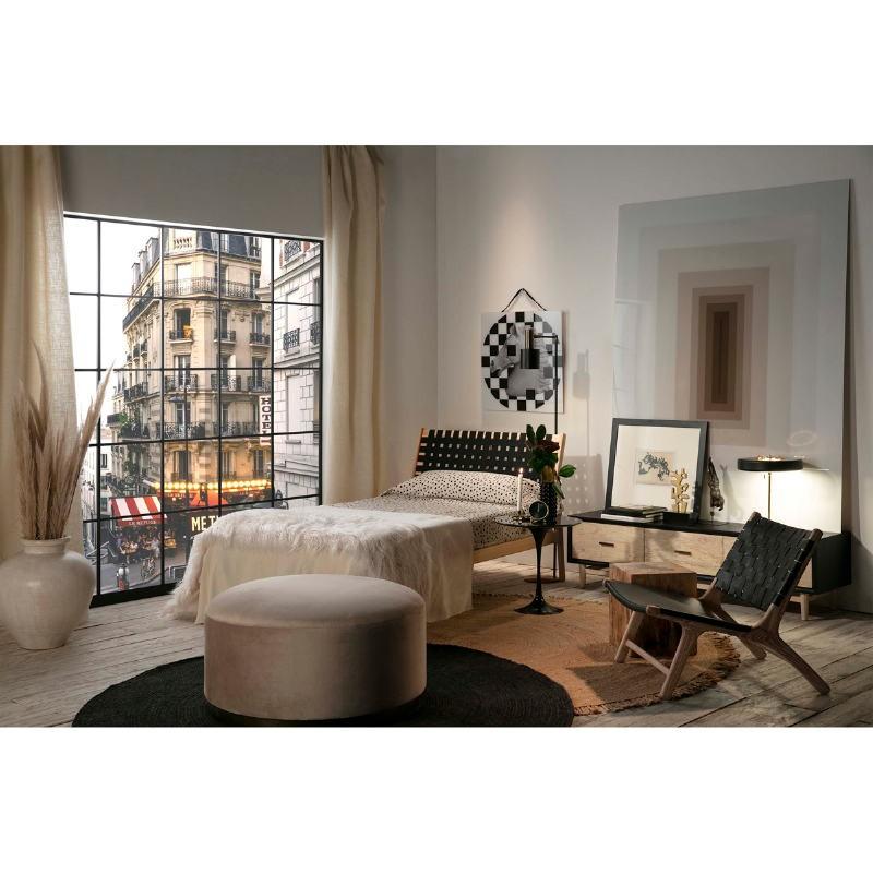 Bed 112X205X97 Ash Wood Natural Fabric Black - image 51833