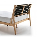 Bed 112X205X97 Ash Wood Natural Fabric Black