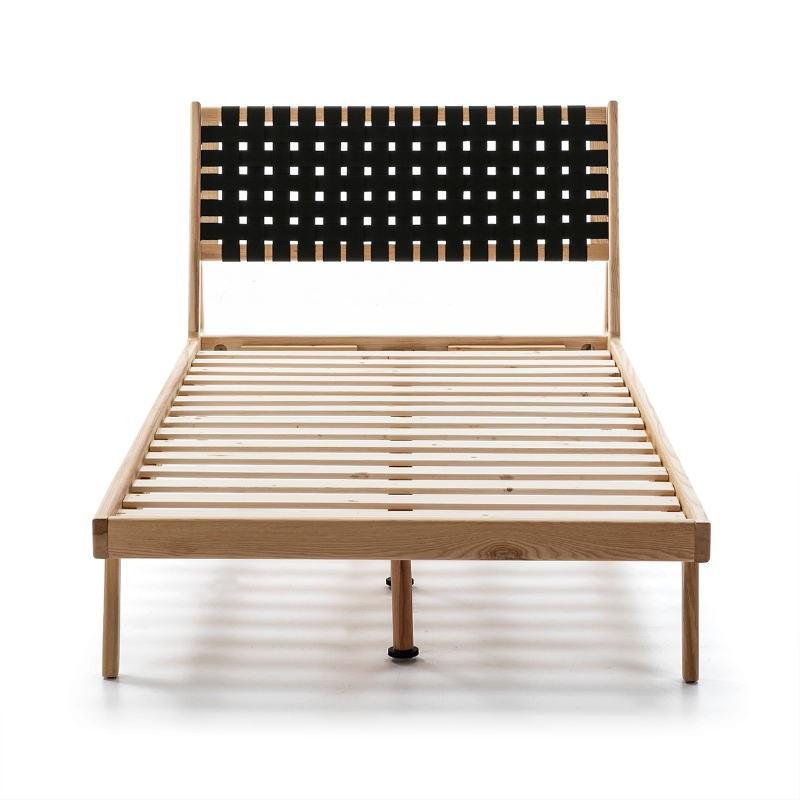 Bed 112X205X97 Ash Wood Natural Fabric Black - image 51839