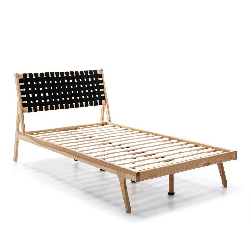 Bed 112X205X97 Ash Wood Natural Fabric Black - image 51840