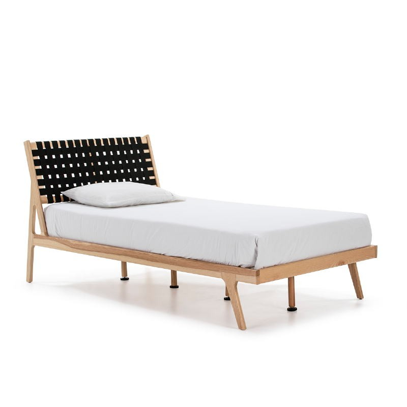 Bed 112X205X97 Ash Wood Natural Fabric Black - image 51841