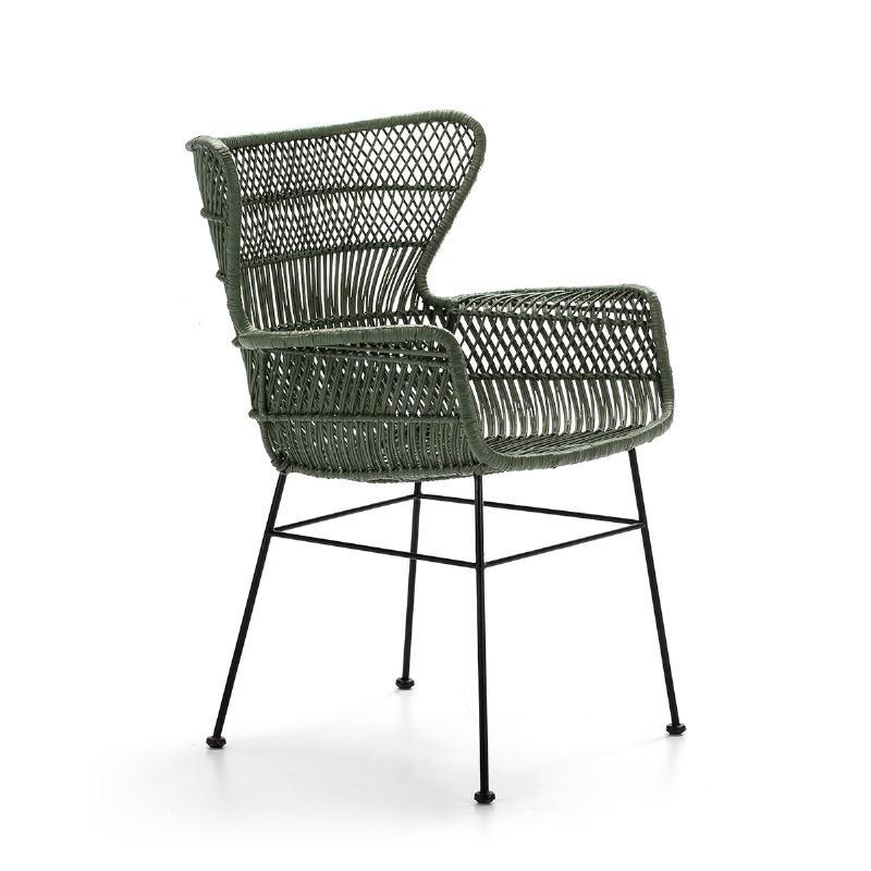 Chaise accoudoirs 60x65x89 Métal Noir Osier Vert - image 51899
