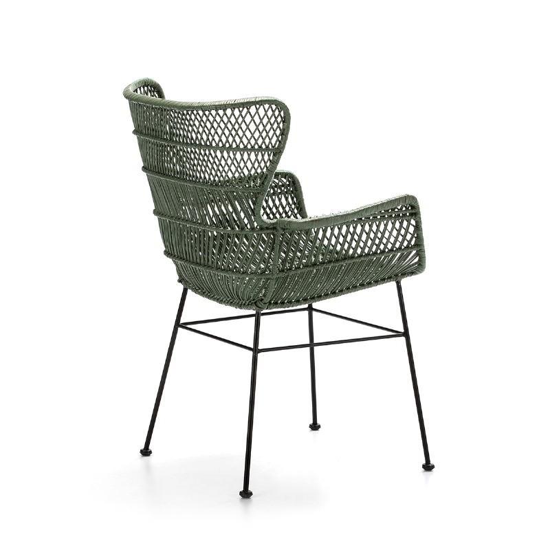 Chaise accoudoirs 60x65x89 Métal Noir Osier Vert - image 51901