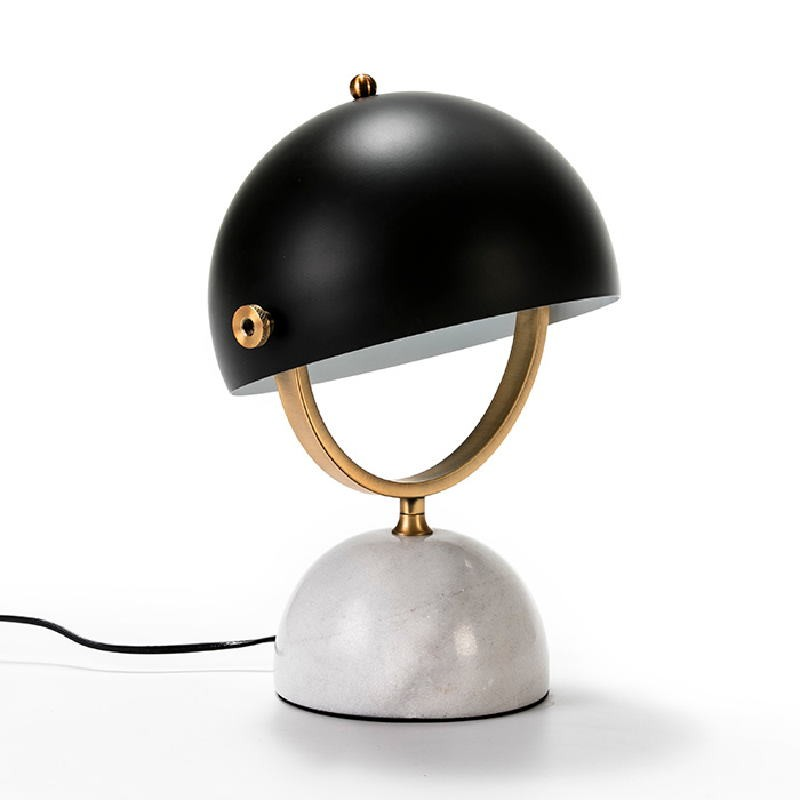 Table Lamp With Lampshade 28X24X40 Marble White Metal Golden Black - image 51919