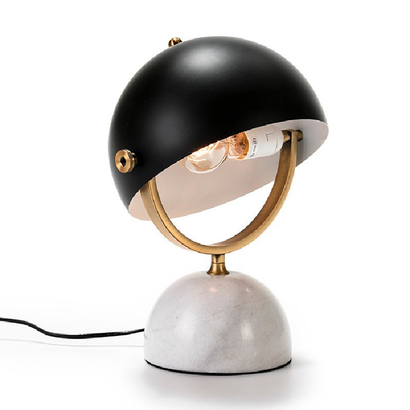 Table Lamp With Lampshade 28X24X40 Marble White Metal Golden Black - image 51920